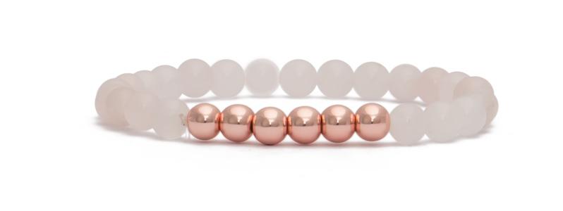 Armband mit rosevergoldeten Perlen Kugeln und Rosenquarz