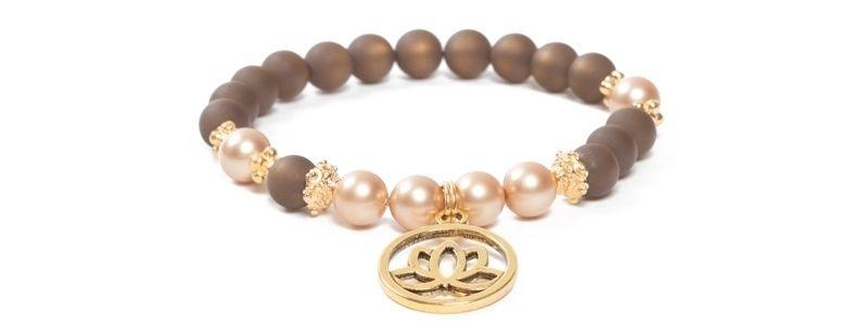 Armband mit Yogaperlen Lotus Gold