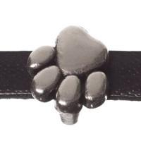 Metallperle Mini-Slider Pfote, versilbert, ca. 9 x 9 mm, Durchmesser Fädelöffnung:  5,2 x 2,0 m