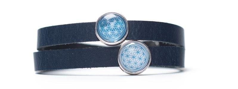 Wickelarmband mit Blume des Lebens Motiv und Slidern Blau