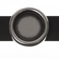 Fassung Slider/ Schiebeperle für runde Cabochons 12 mm, versilbert