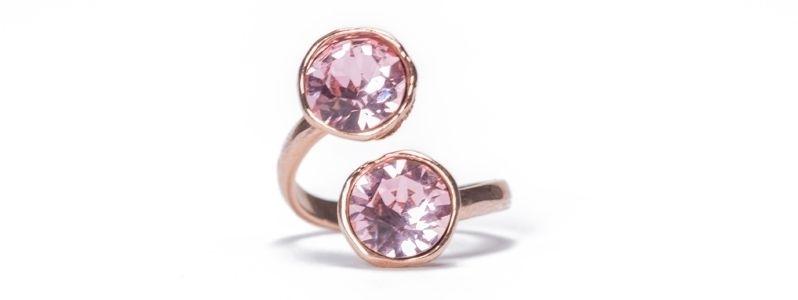 Ring mit Fassungen für Swarovski Chatons rosevergoldet