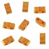 Miyuki Half Tila Bead 5 mm, 24KT gold plated, Röhrchen mit ca. 7,8 gr
