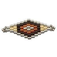 Handgefädeltes Ornament aus japanischen Rocailles, Armbandverbinder Rhombus, Brauntöne 32 x 13 mm