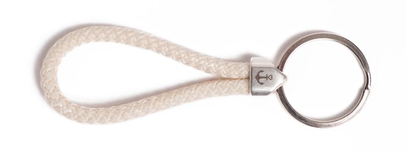 Maritimer Schlüsselanhänger aus Segeltau klein Beige