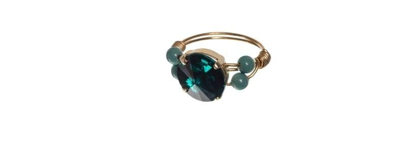 Goldige Ringe mit Swarovski Rivoli Emerald
