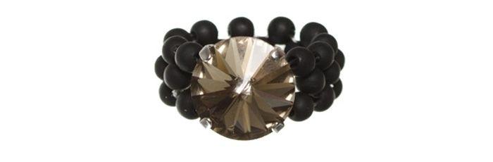 Ring mit Swarovski Rivoli Black Diamond