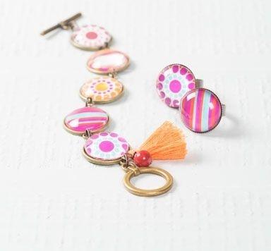 Boho-Armbänder & Ringe mit Glascabochons