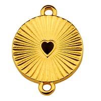 Armbandverbinder Rund mit Herz, 21 x 16 mm, emailliert, vergoldet