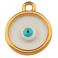 Metallanhänger Rund, 11,5 mm,  Vitraux, Glasfarbe: durchsichtig mit Auge , vergoldet