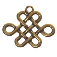CM Metallanhänger Chinesischer Knoten, 19 x 24 mm, goldfarben
