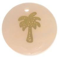 Perlmutt Anhänger, rund, Motiv Palme goldfarben, Durchmesser 16 mm
