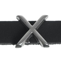 """Metallperle Slider / Schiebeperle Buchstabe """"X"""", versilbert, ca. 14,3 x 13,9  mm"""