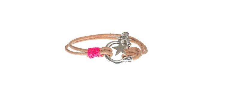 Armband mit Lederband natur/pink