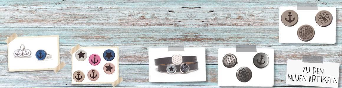 Armbänder mit bedruckten Cabochons und Slidern