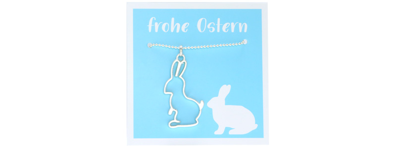 Osterschmuck Kette Hase hellblau