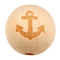 Holzperle Kugel mit Anker, Durchmesser ca. 20 mm, natur