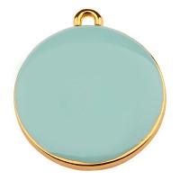 Metallanhänger Rund, Durchmesser 19 mm, aqua emailliert, vergoldet
