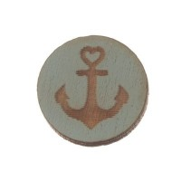 Holzcabochon, rund, Durchmesser 12 mm, Motiv Anker, hellblau