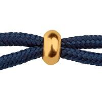 Schiebeverschluss mit Gummi Rondell 7 x 3 mm, für zwei Bänder mit je 2 mm Durchmesser, vergoldet