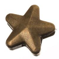 Metallperle Slider Stern, 15,5 x 15,5 mm, bronzefarben