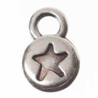 Metallanhänger Minicharm Stern, Durchmesser 9 x 6 mm, versilbert