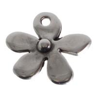 Metallanhänger, Blume, 14 x 13 mm, versilbert
