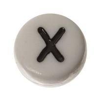 Kunststoffperle Buchstabe X, runde Scheibe, 7 x 3,7 mm, weiß mit schwarzer Schrift