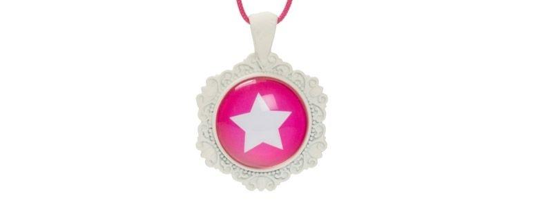 Weißer Anhänger für Cabochons Stern Pink