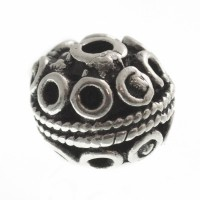 Metallperle Kugel, ca. 11 mm, versilbert