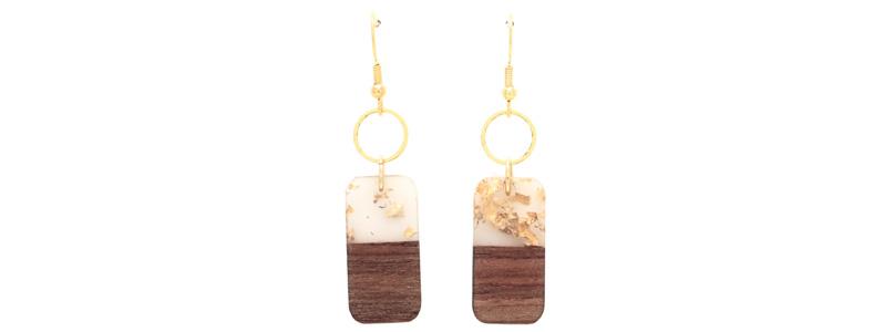 Ohrringe mit Holz-Resin-Anhängern Viereck
