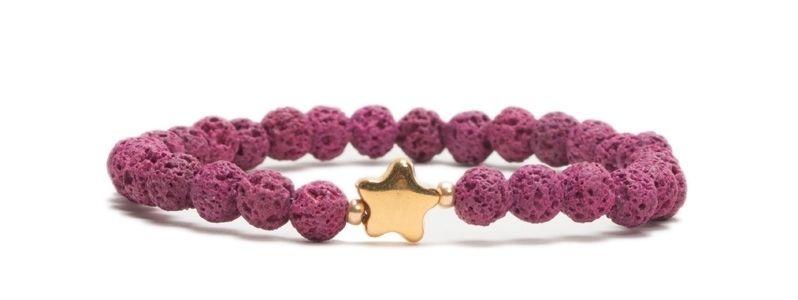 Armband bunte Lava Pink mit Stern