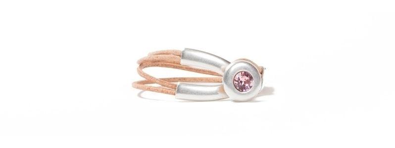 Armband Metall & Leder Chaton Rosa