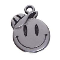 Metallanhänger Smiley Junge, 17 x 13 mm, versilbert