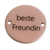"Coin Armbandverbinder Schriftzug ""Beste Freundin"", 15 mm, rosevergoldet, Motiv lasergraviert"