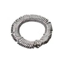 Metallperle, Ring umwickelt, ca. 12 mm, versilbert