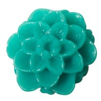 Kunststoffcabochon Dahlie, 10 x 6 mm, blaugrün
