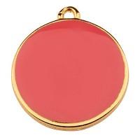 Metallanhänger Rund, Durchmesser 19 mm, dunkelrosa emailliert, vergoldet