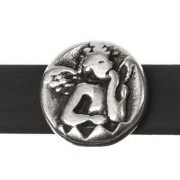 Metallperle Mini-Slider Engel, versilbert, 9,5 x 6,5 mm, Durchmesser Fädelöffnung:  5,2 x 2,0 m