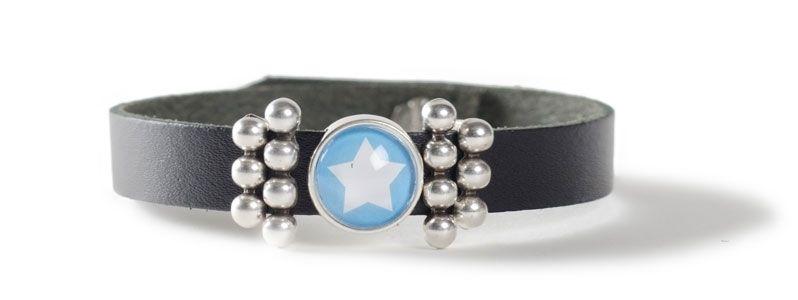 Leder-Armband mit Sliderperlen einfach Stern Blau