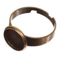 Ringschiene für Cabochons, Durchmesser 10 mm, verstellbar, bronzefarben