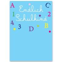 """Schmuckkarte, """"Endlich Schulkind"""", rechteckig, Größe 8,5 x 12 cm"""