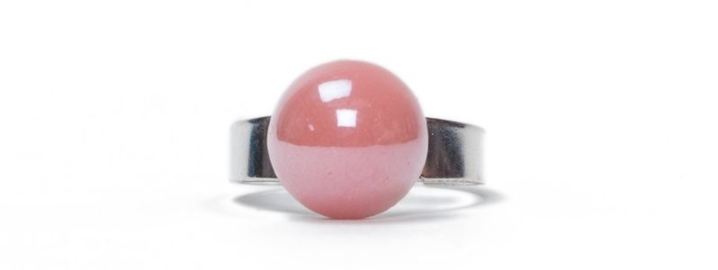 Pearlized Glascabochon Ring Rosa