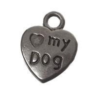 "Metallanhänger ""Love My Dog"", 13 x 10 mm, silberfarben"