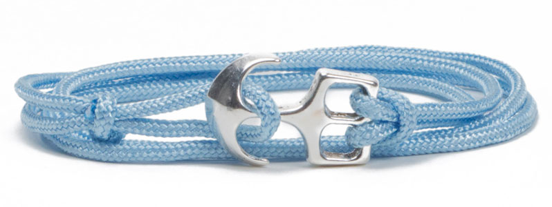 Wickel-Ankerarmband hellblau