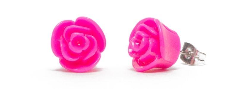 Ohrstecker mit Blumencabochons Pink