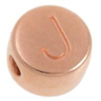 Metallperle, J Buchstabe, rund, Durchmesser 7 mm, rosevergoldet