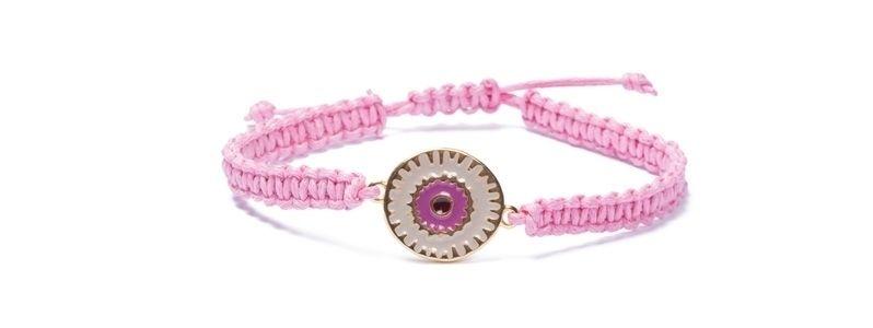 Armband mit Boho  Emaille und Makramee Rosa