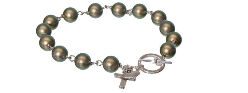 Armband mit Crystal Pearls Iridescent Green