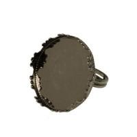 Fingerring mit Schale für runde Cabochons/Glaskugeln 25 mm, antiksilberfarben